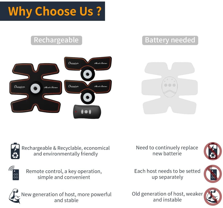 ceinture abdominale Charminer d'électrostimulation et massage musculaire sans fil